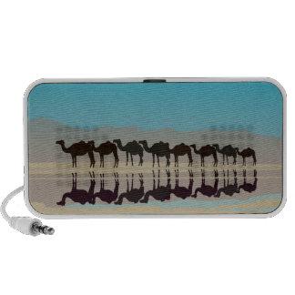 Black camels silhouette in desert iPhone speaker