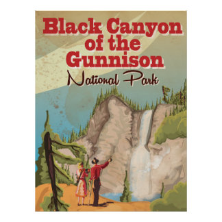 Black Canyon of the Gunnison Vintage Travel Poster