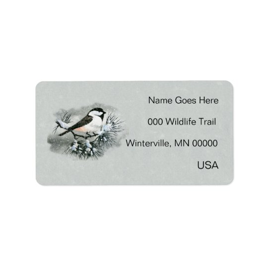 Black Capped Chickadee Bird Left Side Label