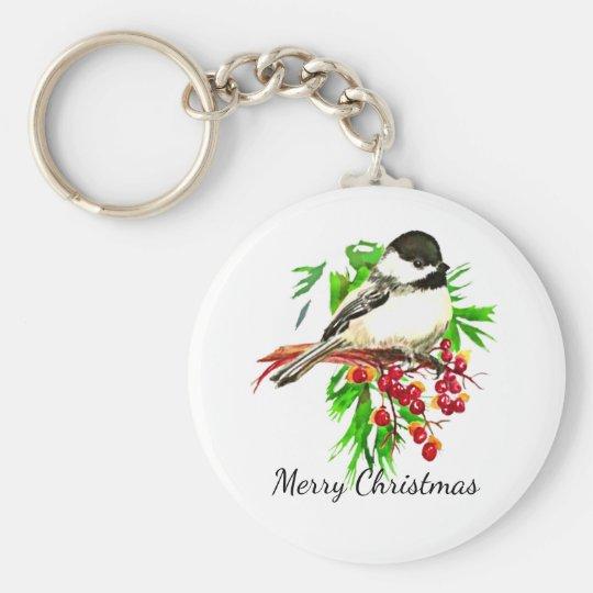 Black Capped Chickadee Bird Nature Art Key Ring