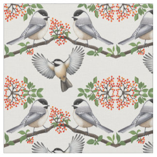 Black Capped Chickadee Wild Bird Fabric