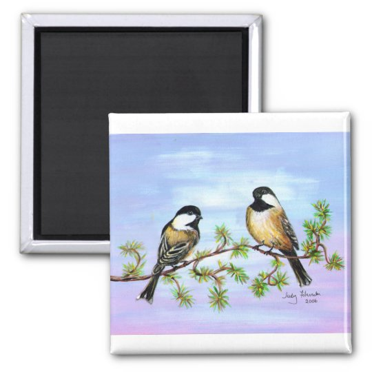Black Capped Chickadees Magnet