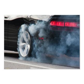 Black car burnout 13 cm x 18 cm invitation card