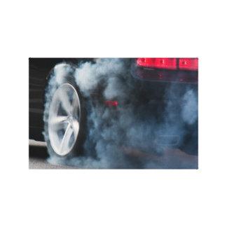 Black car burnout stretched canvas print