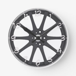 """Black car wheels"" design wall clocks"