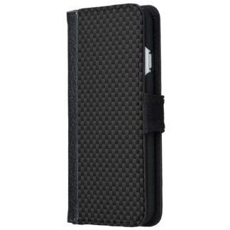 Black Carbon Fiber Print Automotive Texture iPhone 6 Wallet Case
