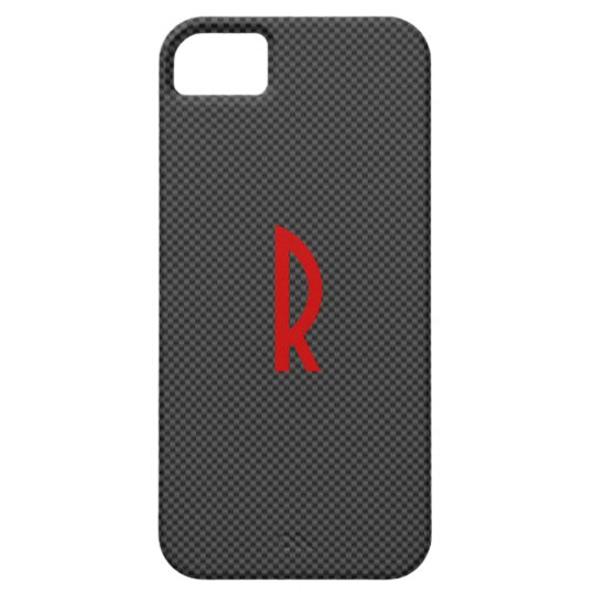 Black Carbon with a Red Monogram iPhone 5 Covers