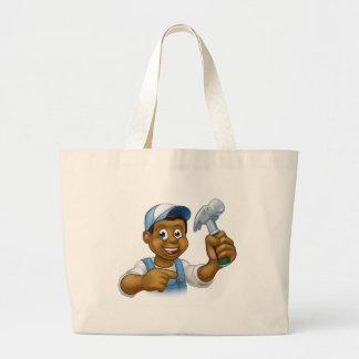 Black Carpenter Handyman Cartoon Character Large Tote Bag