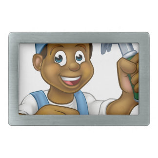 Black Carpenter Handyman Cartoon Character Rectangular Belt Buckles