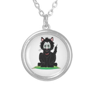 Black Cartoon Cat Round Pendant Necklace