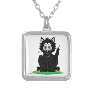 Black Cartoon Cat Square Pendant Necklace