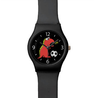 Black Cartoon Dinosaur Soccer Watch