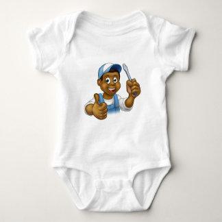 Black Cartoon Electrician Handyman Screwdriver Baby Bodysuit