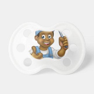 Black Cartoon Electrician Handyman Screwdriver Baby Pacifiers
