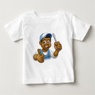 Black Cartoon Electrician Handyman Screwdriver Baby T-Shirt