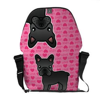Black Cartoon French Bulldog Love Courier Bags