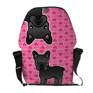Black Cartoon French Bulldog Love Messenger Bags