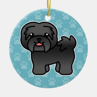 Black Cartoon Havanese Dog Christmas Ornament