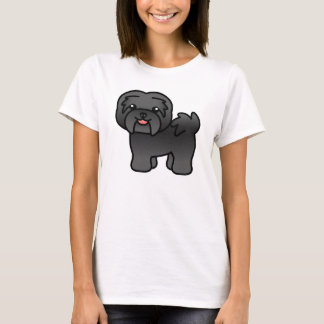 Black Cartoon Havanese Dog T-Shirt