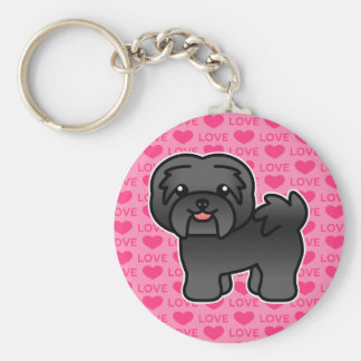 Black Cartoon Havanese Love Key Ring