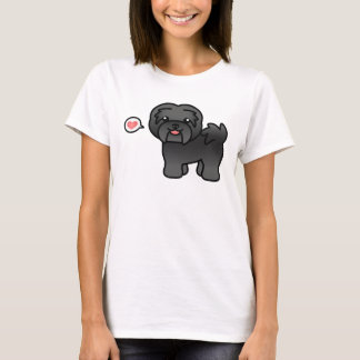 Black Cartoon Havanese Love T-Shirt