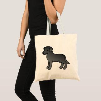 Black Cartoon Labrador Retriever Dog Design Tote Bag