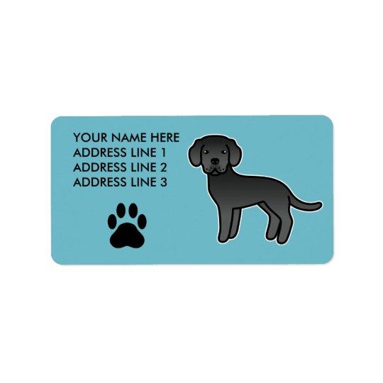 Black Cartoon Labrador Retriever Label