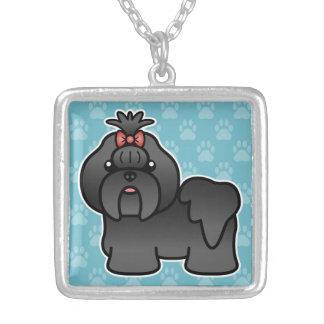 Black Cartoon Shih Tzu Silver Plated Necklace