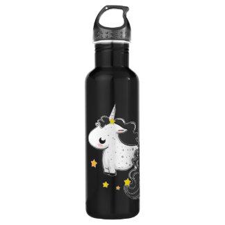 Black cartoon unicorn with stars 710 ml water bottle