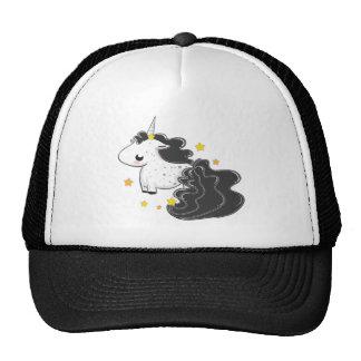 Black cartoon unicorn with stars hat