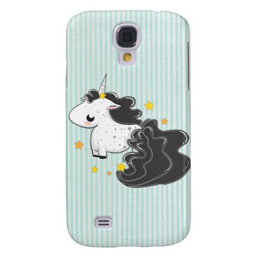 Black cartoon unicorn with stars iPhone 3 Speck Samsung Galaxy S4 Covers