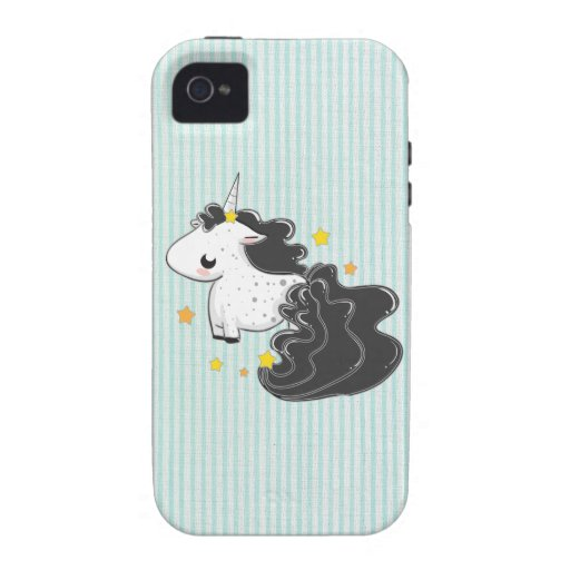 Black cartoon unicorn with stars iPhone 4 iPhone 4/4S Covers