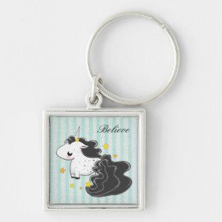 Black cartoon unicorn with stars keychain