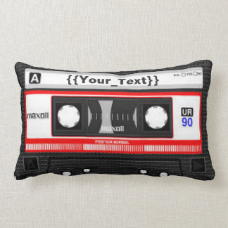 Black Cassette Tape Lumbar Cushion