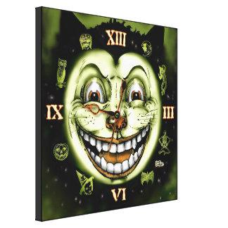 Black Cat 13 Clock Halloween Canvas Print