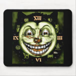 Black Cat 13 Clock Vintage Halloween Mousepad