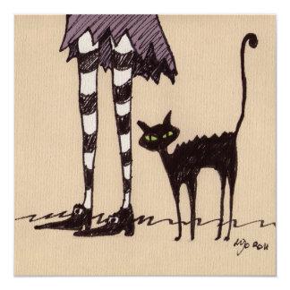 Black Cat 13 Cm X 13 Cm Square Invitation Card