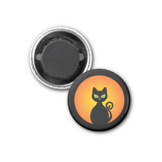 Black Cat 3 Cm Round Magnet