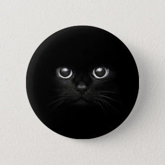black cat 6 cm round badge
