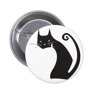 Black Cat 6 Cm Round Badge