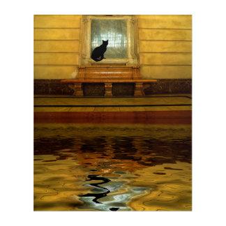 Black Cat above Water Acrylic Wall Art