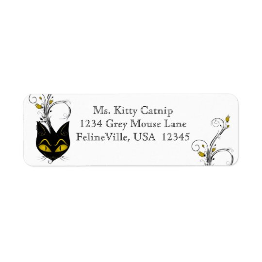 Black Cat Address Label