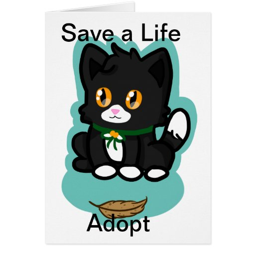 Black Cat Adopt Greeting Card
