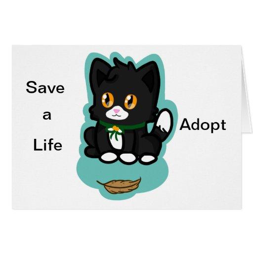 Black Cat Adopt Card