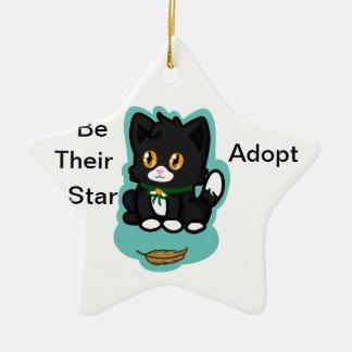 Black Cat Adopt Ceramic Star Decoration