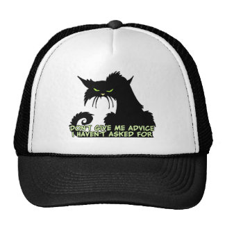 Black Cat Advice Saying Cap