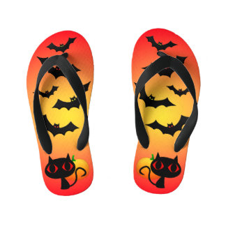 Black Cat and Bats on Red Kid's Flip Flops