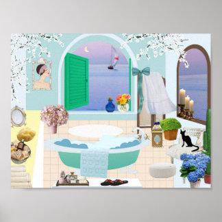 Black Cat and Beach Bathroom Poster