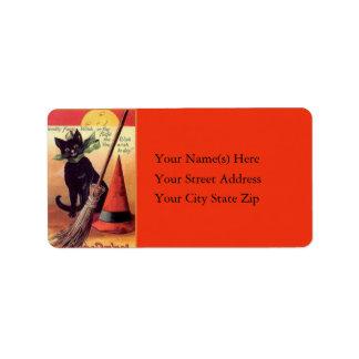 Black Cat and Broom Vintage Address Label