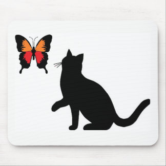 Black Cat And Butterfly Mouse Pad